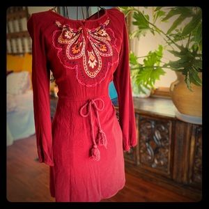 Anthropologie Embroidered Red Mini Dress Sz Small